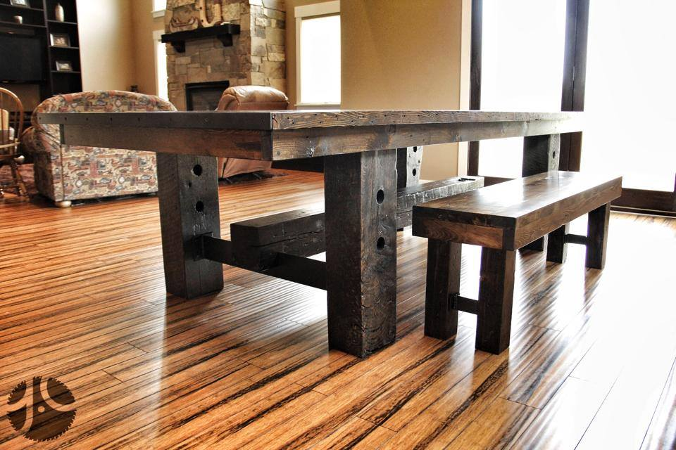 Elegant Globe Grain Elevator Reclaimed Wood Table