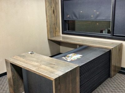 Custom Steel and Reclaimed Wood Flooring Office Desk