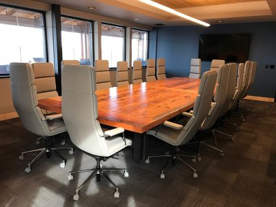 Huge 18 person executive Corporate conference table custom built from reclaimed wood