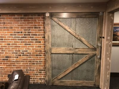 Industrial Barn Door Corrugated Metal and Reclaimed Wood Custom Sliding Barn Door with Hidden Barn Door Track