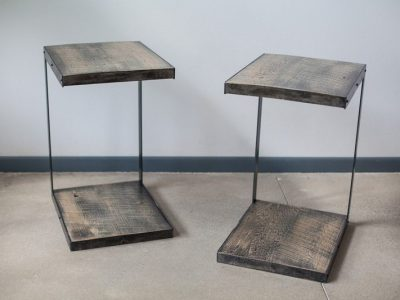 Nile Wood and Metal End Table - Walnut Glaze