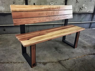 Reclaimed Custom Redwood Wedding Guest Book Bench