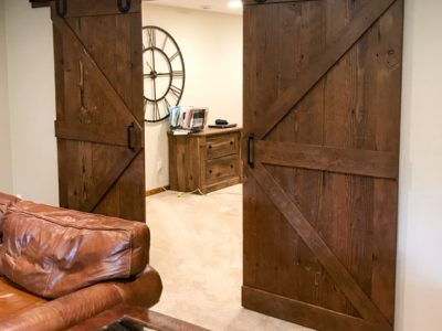 Reclaimed Wood Sliding Barn Doors Brown with Black Hardware