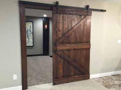 Double Z Custom Sliding Theatre Door in Dark Walnut