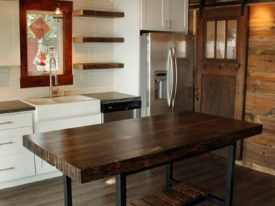 Ordinaire Custom Reclaimed Wall Studs Butcherblock Island And Counter Height Table  With Steel Base   Dark Walnut