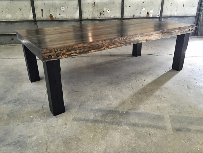 Frederick - Reclaimed Wood Farmhouse Dining Table Timber Legs and Exposed Hardware - Ebony Stain