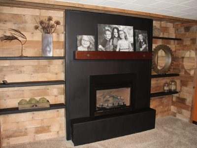 Reclaimed Brown Barn Wood Wall Paneling Shelves and Mantle