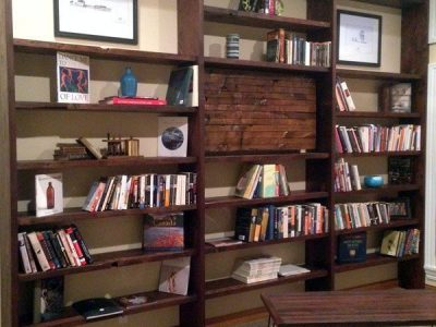 Custom Residential Wood Library Shelving Focal Wall