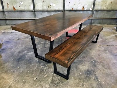 Custom Tapered Steel Leg Dining Table and Bench - Dark Walnut