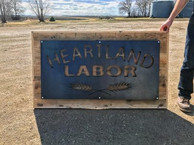 Heartland Labor Steel and Reclaimed Wood Reception Signage