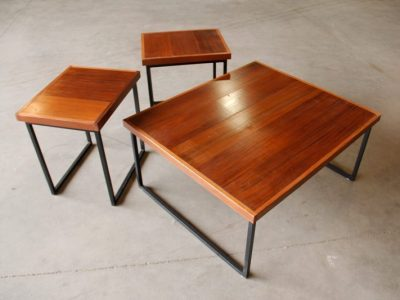 Reclaimed Redwood and Raw Steel Coffee and End Tables