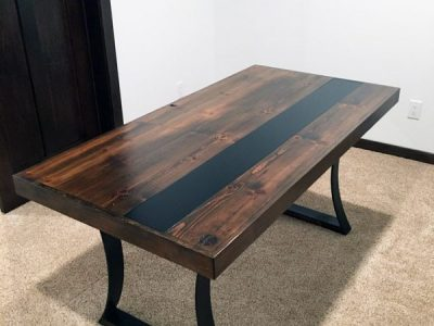 Reclaimed Wood Custom Office Desk with Steel Inlay and Bent Steel Legs - Dark Walnut