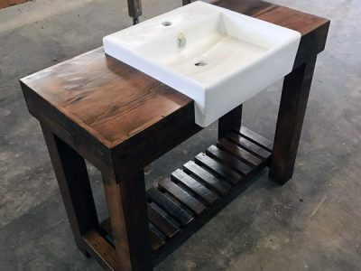 Reclaimed Wood Drop In Sink Vanity with Shelf