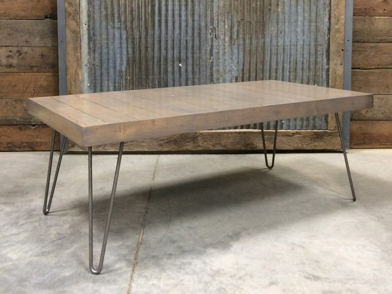 Reclaimed Wood Flooring Coffee Table With Raw Steel Hairpin Legs Stained Gray