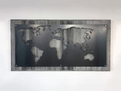 Large Metal and Reclaimed Wood Industrial World Map Wall Art