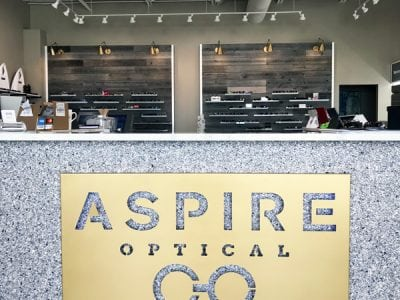 Aspire-Optical-Fargo-Modern-Bronze-Gold-Lasercut-Custom-Backlit-LED-Business-Signage