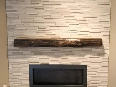 Dark Walnut Live Edge 6x6 Timber Mantel