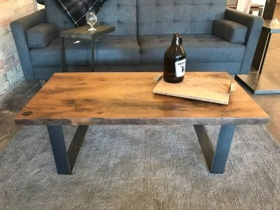 Reclaimed Light Wood and Dark Metal Hoop Leg Boston Coffee Table