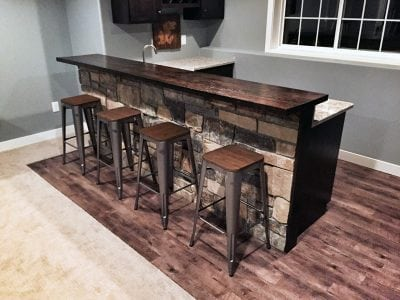 Reclaimed Wood Basement Built In Bar Top with Stone