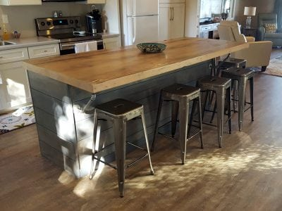 Thick-Reclaimed-Wood-and-Rustic-L-Wood-Douglas-Fir-Light-Wood-Butcher Block Island Countertop