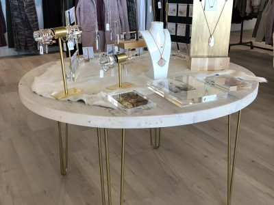 Gold and White Wood Upscale Retail Display Tables Retail Merchandising Fixtures