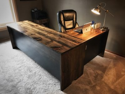 Reclaimed Wood and Hot Rolled Steel Custom Home Office Desk