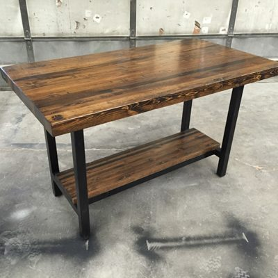 10Custom - Butcher block Island and Counter Height Dining Table with Steel Base and Shelf- Dark Walnut Stain