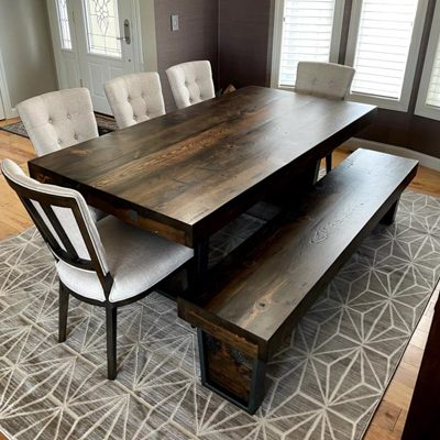 12 Custom - Custom Made Reclaimed Wood Dining Room Table with Extensions and Bench
