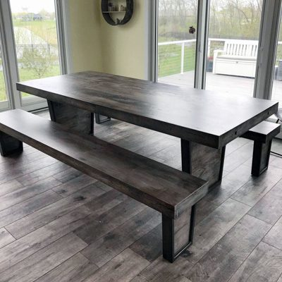 13 Custom - Custom Made Rustic Wood Expandable Dining Room Table and Bench