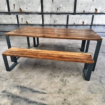 20 Custom - Reclaimed Circle Sawn Oak Dining Table and Bench with Welded Powdercoated Steel Base - Unstained
