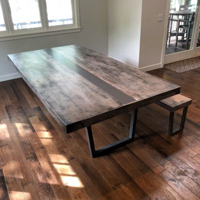 29 Custom Metal Pedestal Dining Table with Wood Top and Metal Inlay (1)