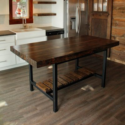 30 Custom Reclaimed Wall Studs Butcherblock Island and Counter Height Table with Steel Base - Dark Walnut Stain 2