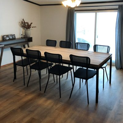 33 Ellie - Modern Natural Wood Oak Kitchen Table with Flat Black Parsons Style Table Base