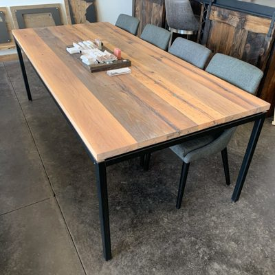 35 Ellie - Natural White Oak Parsons Dining Table with Flat Black Base