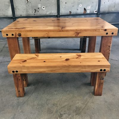 43 Frederick - Reclaimed Heart Pine Farmhouse Style Dining Table and Bench Set - Unstained