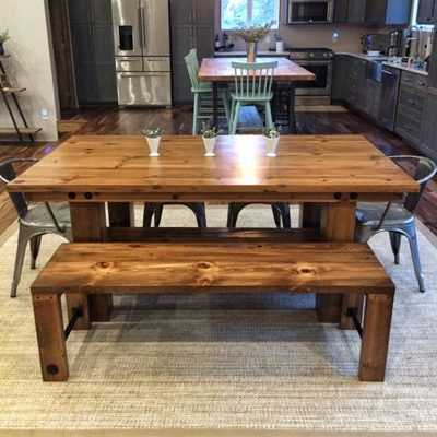 46 Frederick - Rustic Wood Farmhouse Dining Table and Bench Set - Light Walnut