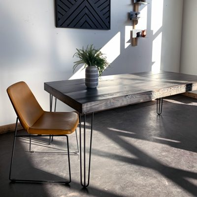 49 Helen - Hairpin Rustic Gray Wood Dining Table