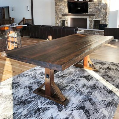 53 Trestle Wood Pedestal Base Dining Table with Industrial Metal Accents and Rustic Wood Top