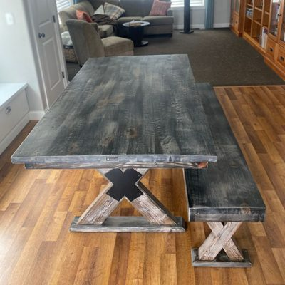 56 X-Brace Base Dining Table and Bench Set - Rustic Grey Wood with Wood and Metal Base
