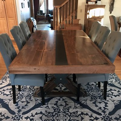57 X-Brace Reclaimed Wood Dining Table with Metal Accents - Light Walnut