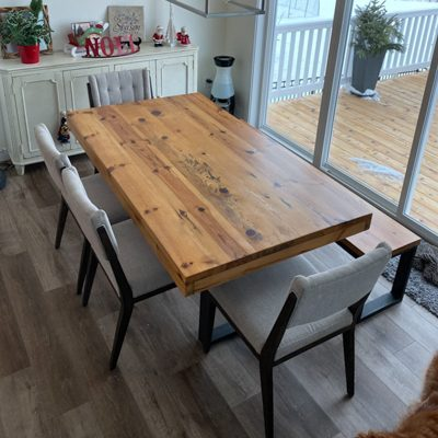 7 Boston - Unstained Reclaimed White Pine Dining Table Bench Set with Chairs